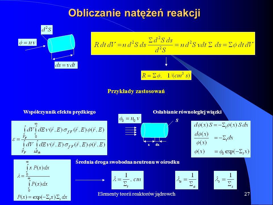 Elementy teorii reaktorów jądrowch27 Obliczanie natężeń reakcji Przykłady zastosowań Współczynnik efektu prędkiego Osłabianie równoległej wiązki x dx
