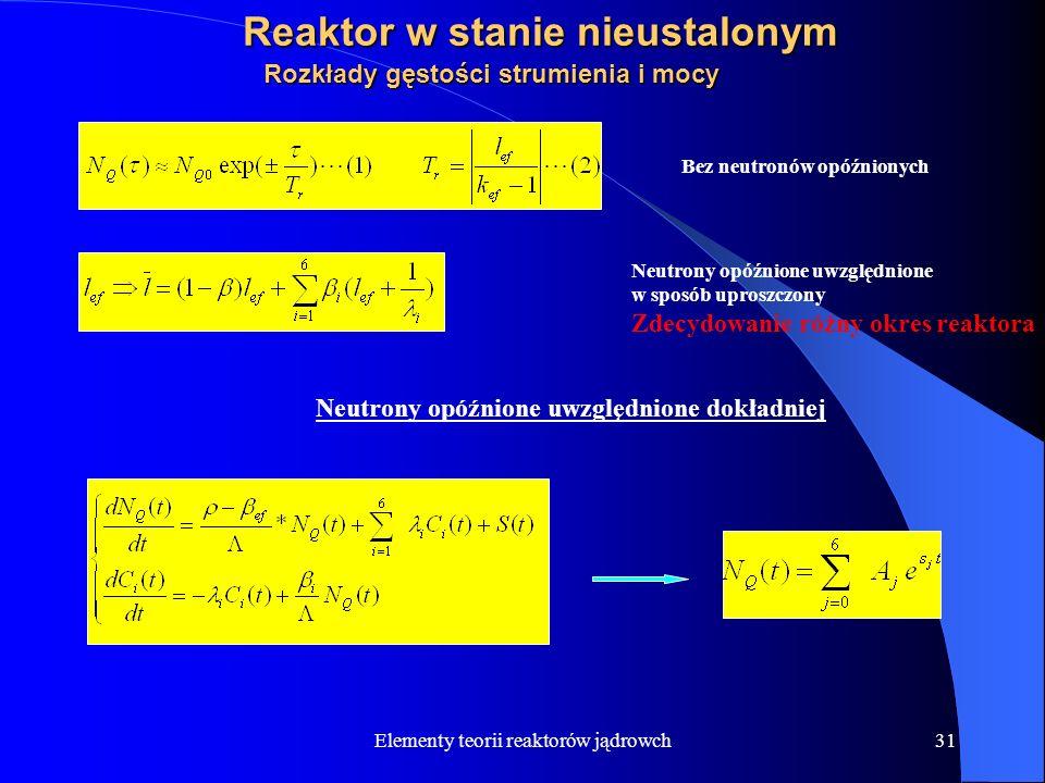 Elementy teorii reaktorów jądrowch31 Reaktor w stanie nieustalonym Rozkłady gęstości strumienia i mocy Bez neutronów opóźnionych Neutrony opóźnione uw
