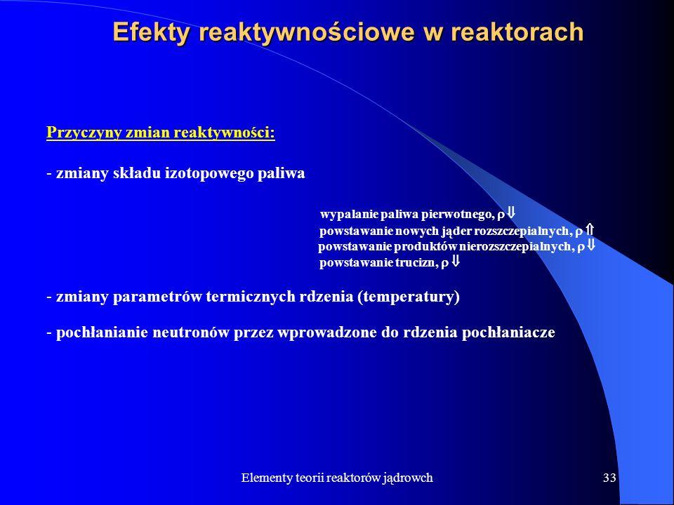 Elementy teorii reaktorów jądrowch33 Efekty reaktywnościowe w reaktorach Przyczyny zmian reaktywności: - zmiany składu izotopowego paliwa wypalanie pa