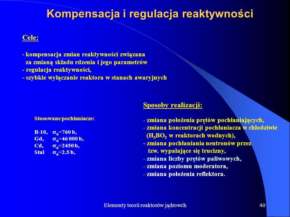 Elementy teorii reaktorów jądrowch40 Kompensacja i regulacja reaktywności Cele: - kompensacja zmian reaktywności związana za zmianą składu rdzenia i j