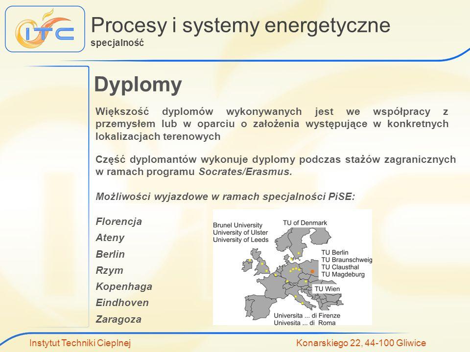 Instytut Techniki Cieplnej Konarskiego 22, 44-100 Gliwice Procesy i systemy energetyczne specjalność Dyplomy Większość dyplomów wykonywanych jest we w