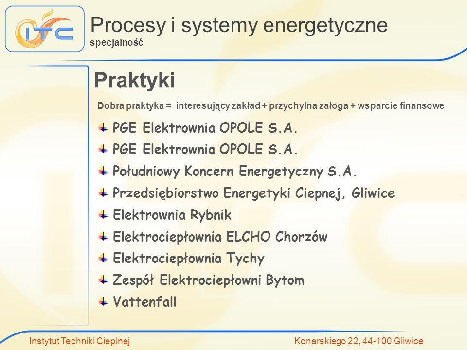 Instytut Techniki Cieplnej Konarskiego 22, 44-100 Gliwice Procesy i systemy energetyczne specjalność Praktyki PGE Elektrownia OPOLE S.A. Południowy Ko