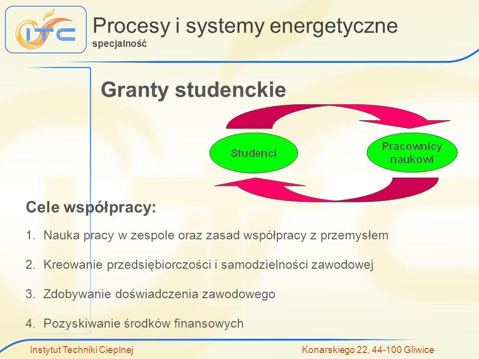 Instytut Techniki Cieplnej Konarskiego 22, 44-100 Gliwice Procesy i systemy energetyczne specjalność Granty studenckie 1.Nauka pracy w zespole oraz za