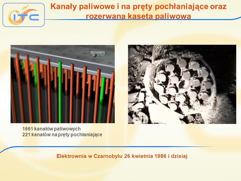 Elektrownia w Czarnobylu 26 kwietnia 1986 i dzisiaj Kanały paliwowe i na pręty pochłaniające oraz rozerwana kaseta paliwowa 1661 kanałów paliwowych 22