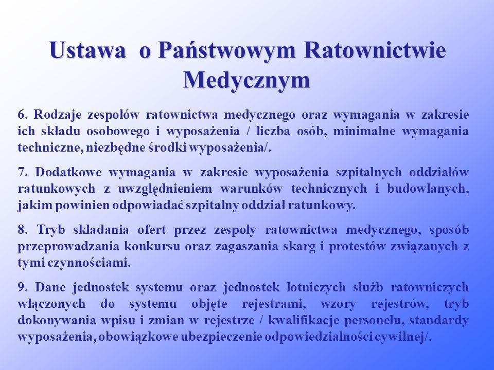 Ustawa o Państwowym Ratownictwie Medycznym Akty wykonawcze do ustawy będące w wyłącznej kompetencji ministra właściwego do spraw zdrowia: 1.