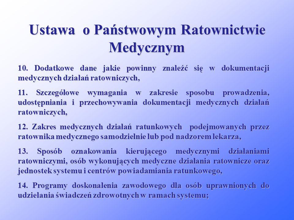 Ustawa o Państwowym Ratownictwie Medycznym 6. Rodzaje zespołów ratownictwa medycznego oraz wymagania w zakresie ich składu osobowego i wyposażenia / l