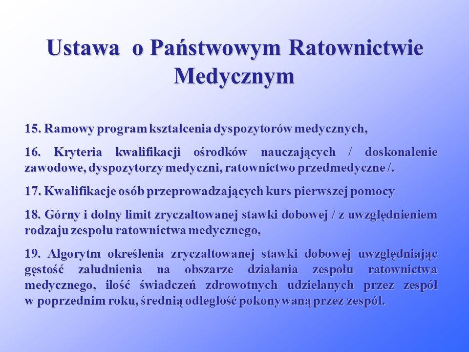 Ustawa o Państwowym Ratownictwie Medycznym 10. Dodatkowe dane jakie powinny znaleźć się w dokumentacji medycznych działań ratowniczych, 11. Szczegółow