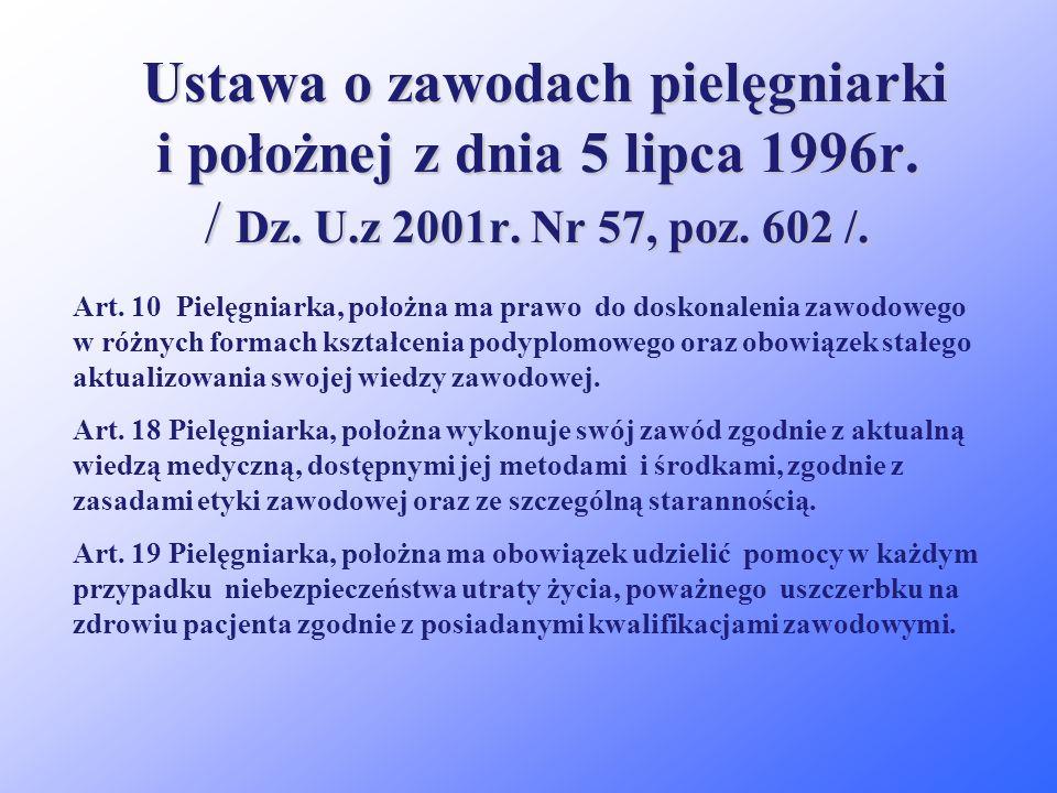 Ustawa o zawodach pielęgniarki i położnej z dnia 5 lipca 1996r. / Dz. U.z 2001r. Nr 57, poz. 602 /. Art. 4 określa uprawnienia pielęgniarek do wykonyw