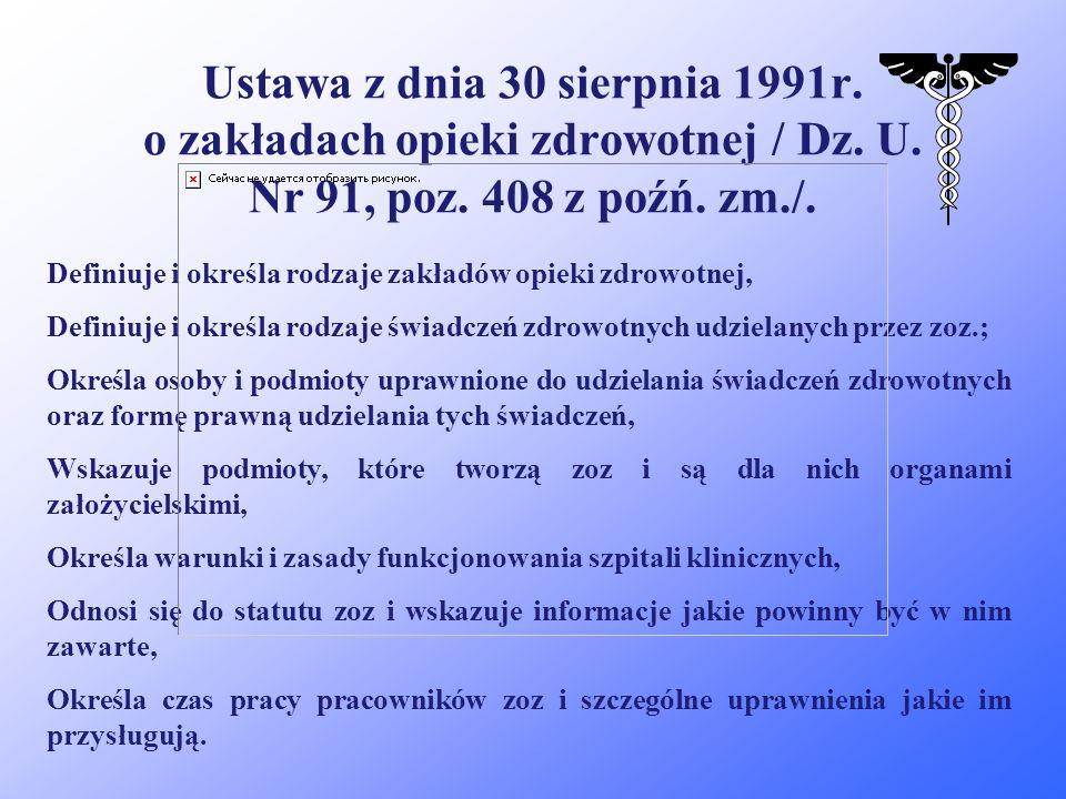 Ustawa z dnia 30 sierpnia 1991r.o zakładach opieki zdrowotnej / Dz.