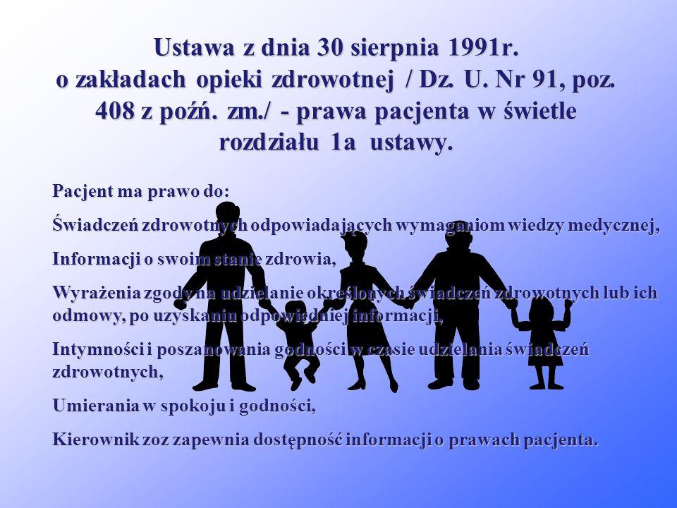 Ustawa z dnia 30 sierpnia 1991r. o zakładach opieki zdrowotnej / Dz. U. Nr 91, poz. 408 z poźń. zm./. Art. 18 - wskazuje na wymóg prowadzenia przez zo