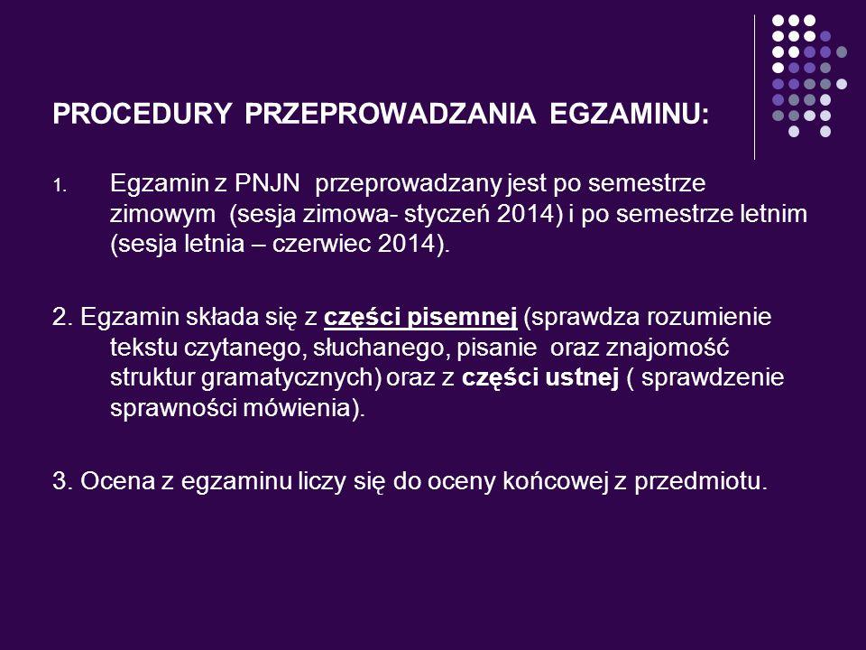 PROCEDURY PRZEPROWADZANIA EGZAMINU: 1. Egzamin z PNJN przeprowadzany jest po semestrze zimowym (sesja zimowa- styczeń 2014) i po semestrze letnim (ses