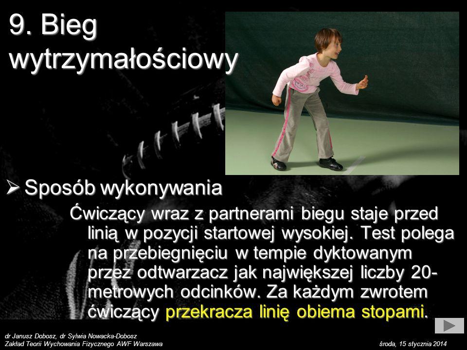 dr Janusz Dobosz, dr Sylwia Nowacka-Dobosz Zakład Teorii Wychowania Fizycznego AWF Warszawa środa, 15 stycznia 2014 Sposób wykonywania Sposób wykonywania Biegnie się takim tempem, aby w momencie usłyszenia sygnału z taśmy znajdować się na końcu 20-metrowego odcinka (wystarczająca jest dokładność do dwóch kroków).