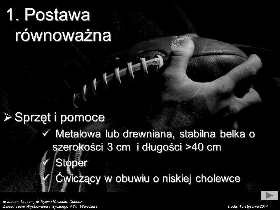 dr Janusz Dobosz, dr Sylwia Nowacka-Dobosz Zakład Teorii Wychowania Fizycznego AWF Warszawa środa, 15 stycznia 2014 1. Postawa równoważna Sprzęt i pom