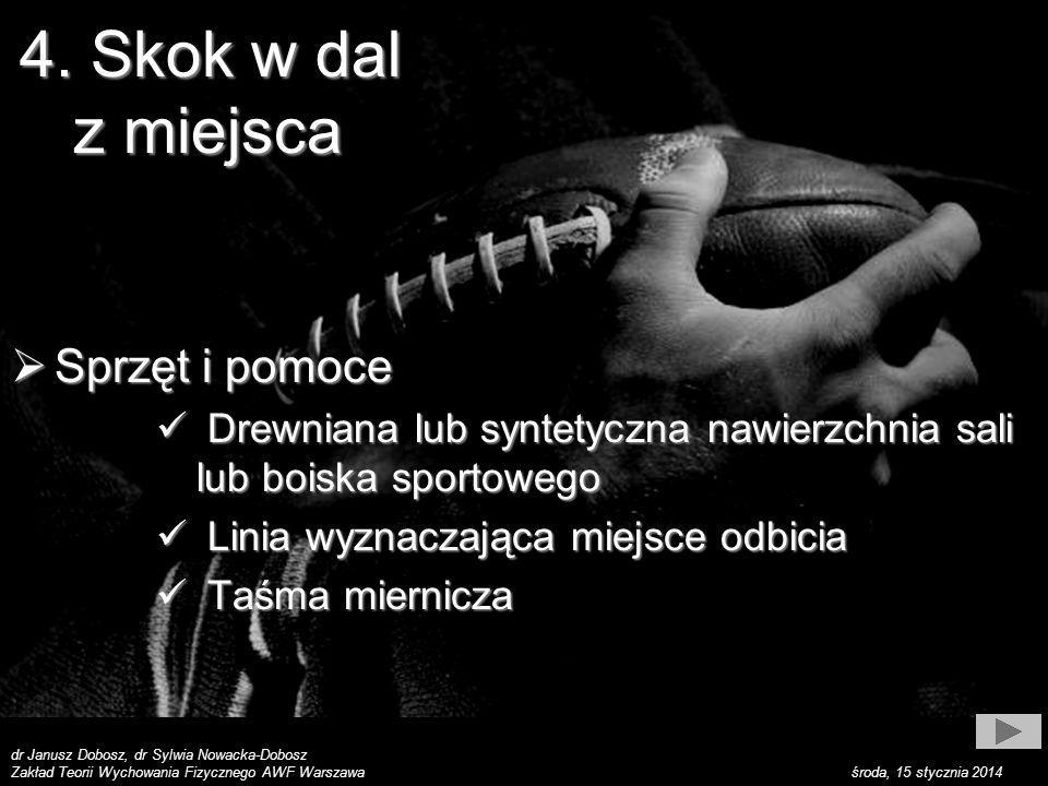 dr Janusz Dobosz, dr Sylwia Nowacka-Dobosz Zakład Teorii Wychowania Fizycznego AWF Warszawa środa, 15 stycznia 2014 Sposób wykonywania Sposób wykonywania Ćwiczący staje w małym rozkroku z ustawionymi równolegle stopami przed linią odbicia, następnie pochyla tułów, ugina nogi w kola- nach (półprzysiad) z równoczesnym zama- chem obu rąk dołem w tył, … 4.