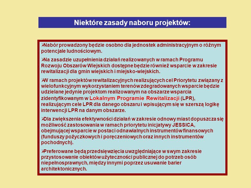 Niektóre zasady naboru projektów: Nabór prowadzony będzie osobno dla jednostek administracyjnym o różnym potencjale ludnościowym.