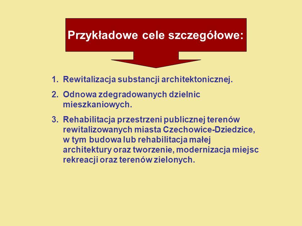 Przykładowe cele szczegółowe: 1.Rewitalizacja substancji architektonicznej.