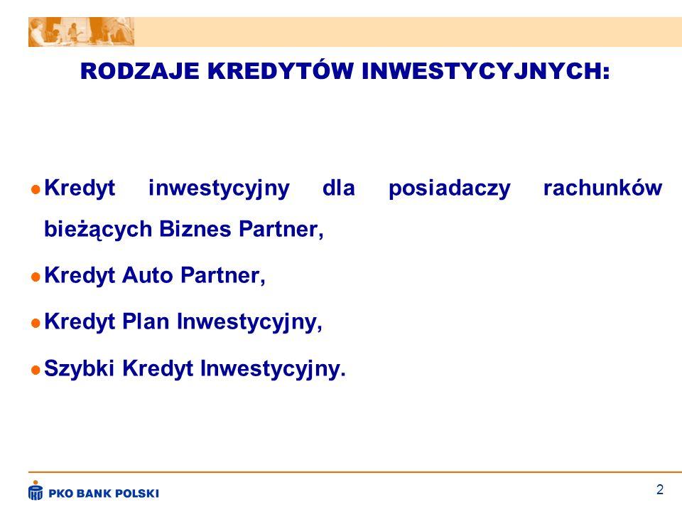 2 RODZAJE KREDYTÓW INWESTYCYJNYCH: Kredyt inwestycyjny dla posiadaczy rachunków bieżących Biznes Partner, Kredyt Auto Partner, Kredyt Plan Inwestycyjn