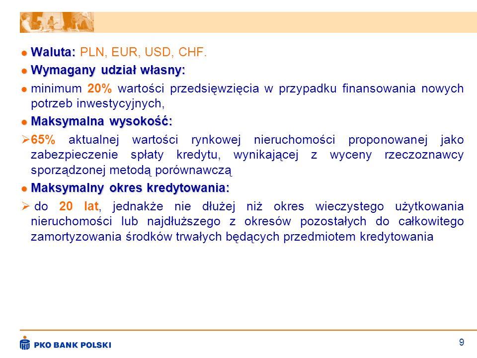 9 Waluta: Waluta: PLN, EUR, USD, CHF. Wymagany udział własny: Wymagany udział własny: minimum 20% wartości przedsięwzięcia w przypadku finansowania no
