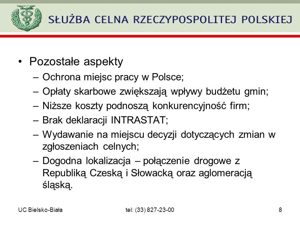 UC Bielsko-Białatel: (33) 827-23-008 Pozostałe aspekty –Ochrona miejsc pracy w Polsce; –Opłaty skarbowe zwiększają wpływy budżetu gmin; –Niższe koszty