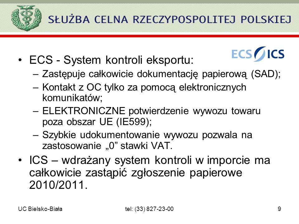 UC Bielsko-Białatel: (33) 827-23-009 ECS - System kontroli eksportu: –Zastępuje całkowicie dokumentację papierową (SAD); –Kontakt z OC tylko za pomocą