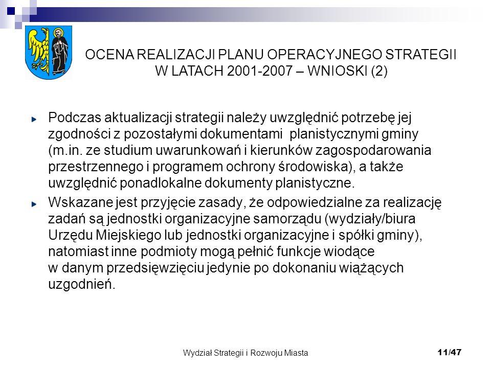 Wydział Strategii i Rozwoju Miasta 11/47 Podczas aktualizacji strategii należy uwzględnić potrzebę jej zgodności z pozostałymi dokumentami planistyczn