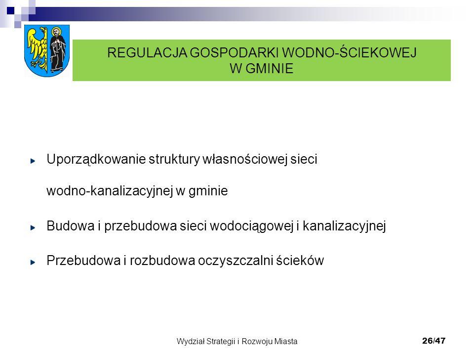 Wydział Strategii i Rozwoju Miasta 26/47 Uporządkowanie struktury własnościowej sieci wodno-kanalizacyjnej w gminie Budowa i przebudowa sieci wodociąg