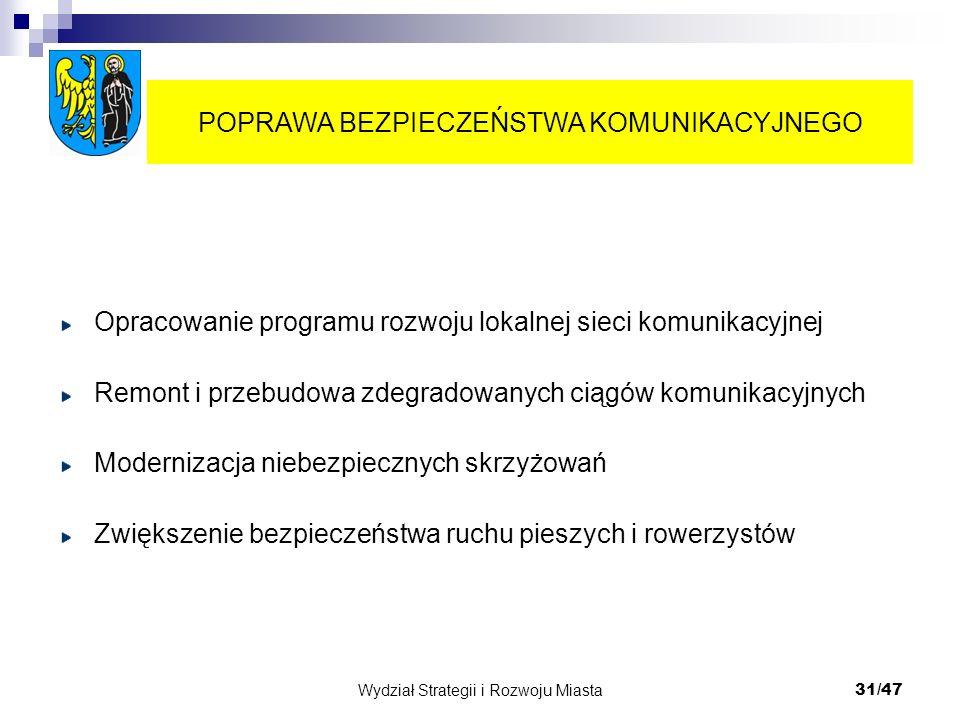 Wydział Strategii i Rozwoju Miasta 31/47 Opracowanie programu rozwoju lokalnej sieci komunikacyjnej Remont i przebudowa zdegradowanych ciągów komunika