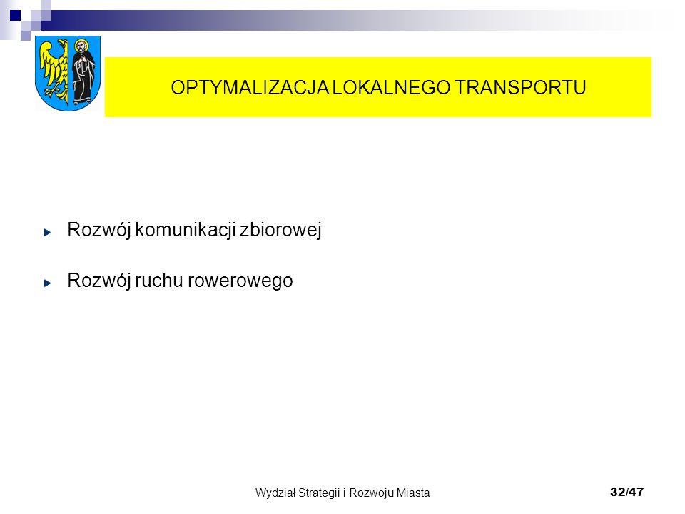 Wydział Strategii i Rozwoju Miasta 32/47 Rozwój komunikacji zbiorowej Rozwój ruchu rowerowego OPTYMALIZACJA LOKALNEGO TRANSPORTU
