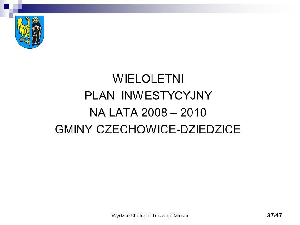 Wydział Strategii i Rozwoju Miasta 37/47 WIELOLETNI PLAN INWESTYCYJNY NA LATA 2008 – 2010 GMINY CZECHOWICE-DZIEDZICE