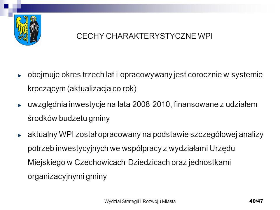 Wydział Strategii i Rozwoju Miasta 40/47 obejmuje okres trzech lat i opracowywany jest corocznie w systemie kroczącym (aktualizacja co rok) uwzględnia