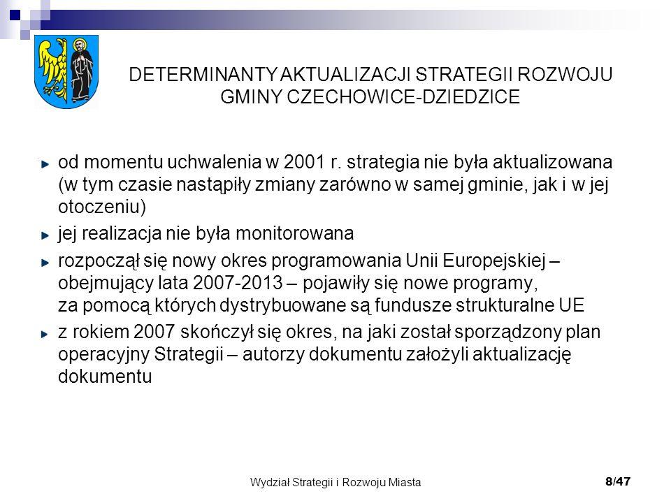 Wydział Strategii i Rozwoju Miasta 8/47 od momentu uchwalenia w 2001 r. strategia nie była aktualizowana (w tym czasie nastąpiły zmiany zarówno w same