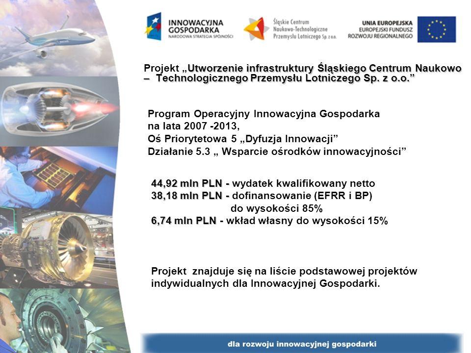 Program Operacyjny Innowacyjna Gospodarka na lata 2007 -2013, Oś Priorytetowa 5 Dyfuzja Innowacji Działanie 5.3 Wsparcie ośrodków innowacyjności Utworzenie infrastruktury Śląskiego Centrum Naukowo – Technologicznego Przemysłu Lotniczego Sp.