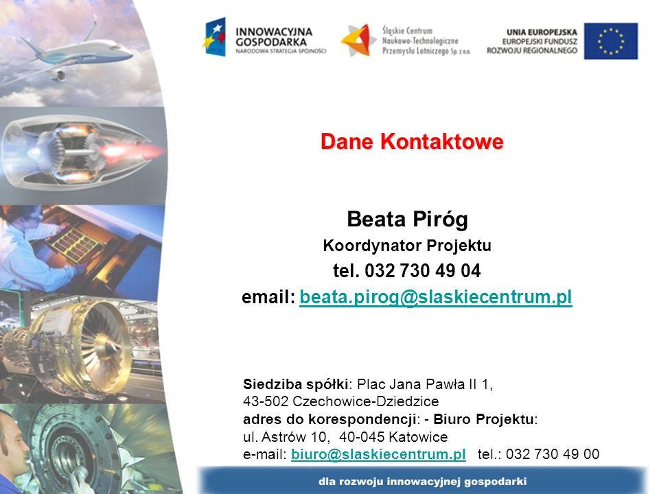 Dane Kontaktowe Beata Piróg Koordynator Projektu tel.