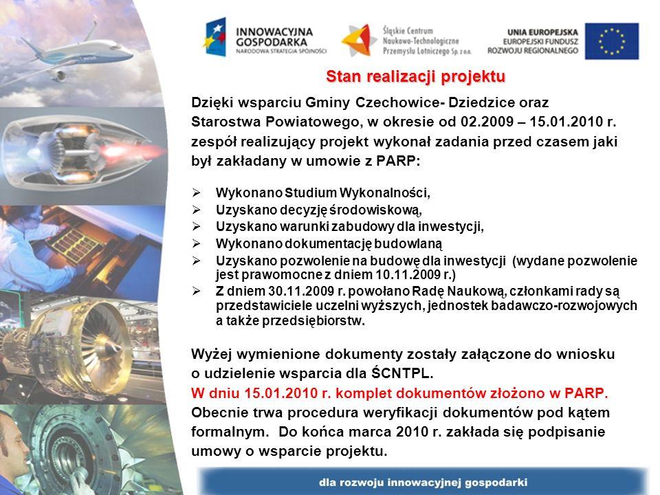 Stan realizacji projektu Dzięki wsparciu Gminy Czechowice- Dziedzice oraz Starostwa Powiatowego, w okresie od 02.2009 – 15.01.2010 r. zespół realizują