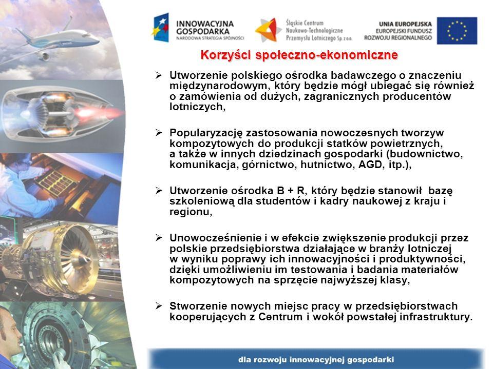 Korzyści społeczno-ekonomiczne Utworzenie polskiego ośrodka badawczego o znaczeniu międzynarodowym, który będzie mógł ubiegać się również o zamówienia od dużych, zagranicznych producentów lotniczych, Popularyzację zastosowania nowoczesnych tworzyw kompozytowych do produkcji statków powietrznych, a także w innych dziedzinach gospodarki (budownictwo, komunikacja, górnictwo, hutnictwo, AGD, itp.), Utworzenie ośrodka B + R, który będzie stanowił bazę szkoleniową dla studentów i kadry naukowej z kraju i regionu, Unowocześnienie i w efekcie zwiększenie produkcji przez polskie przedsiębiorstwa działające w branży lotniczej w wyniku poprawy ich innowacyjności i produktywności, dzięki umożliwieniu im testowania i badania materiałów kompozytowych na sprzęcie najwyższej klasy, Stworzenie nowych miejsc pracy w przedsiębiorstwach kooperujących z Centrum i wokół powstałej infrastruktury.