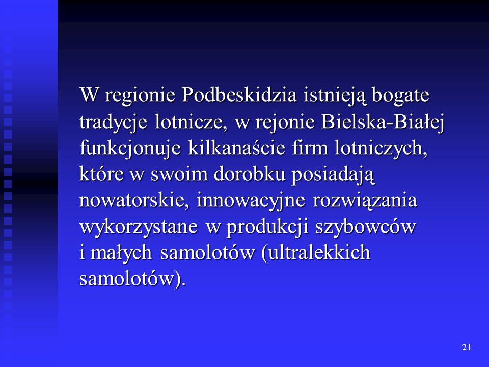 21 W regionie Podbeskidzia istnieją bogate tradycje lotnicze, w rejonie Bielska-Białej funkcjonuje kilkanaście firm lotniczych, które w swoim dorobku