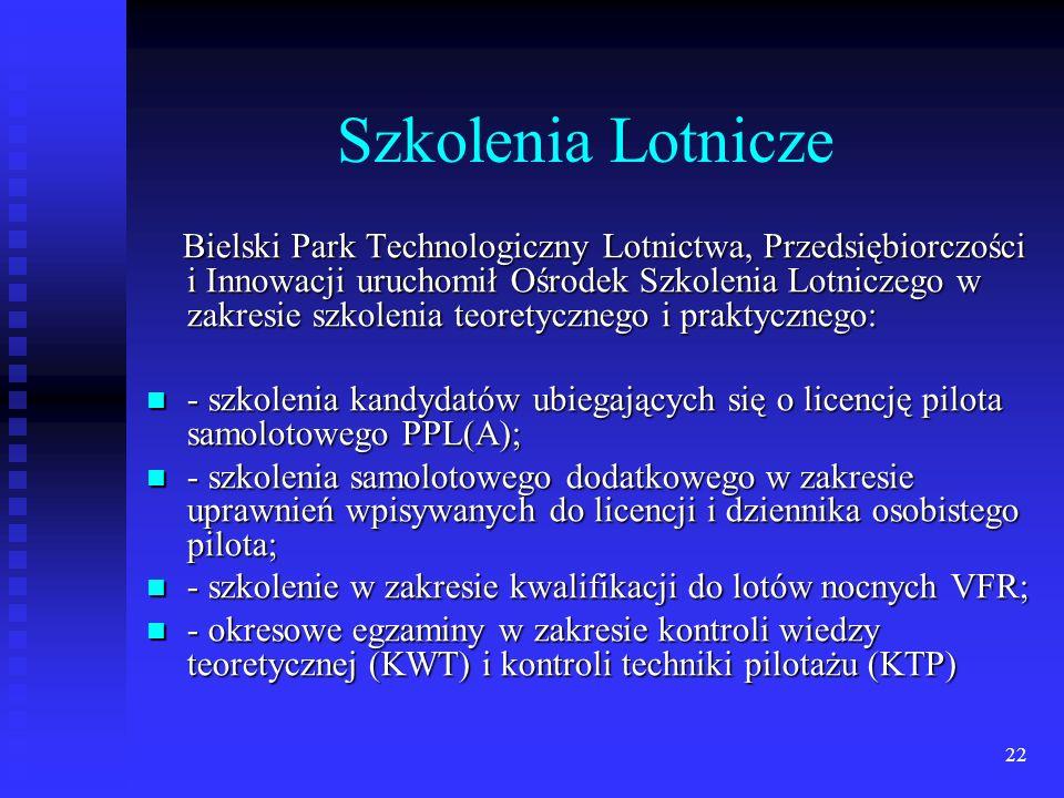 22 Szkolenia Lotnicze Bielski Park Technologiczny Lotnictwa, Przedsiębiorczości i Innowacji uruchomił Ośrodek Szkolenia Lotniczego w zakresie szkoleni