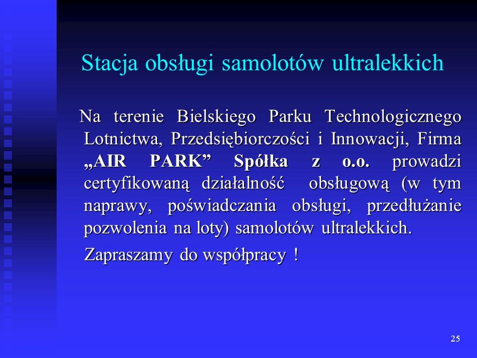 25 Stacja obsługi samolotów ultralekkich Na terenie Bielskiego Parku Technologicznego Lotnictwa, Przedsiębiorczości i Innowacji, Firma AIR PARK Spółka