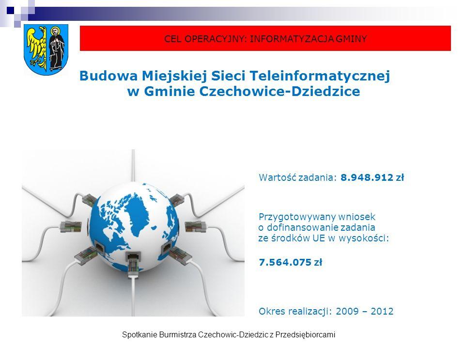 Spotkanie Burmistrza Czechowic-Dziedzic z Przedsiębiorcami Budowa Miejskiej Sieci Teleinformatycznej w Gminie Czechowice-Dziedzice Wartość zadania: 8.948.912 zł Przygotowywany wniosek o dofinansowanie zadania ze środków UE w wysokości: 7.564.075 zł Okres realizacji: 2009 – 2012 CEL OPERACYJNY: INFORMATYZACJA GMINY