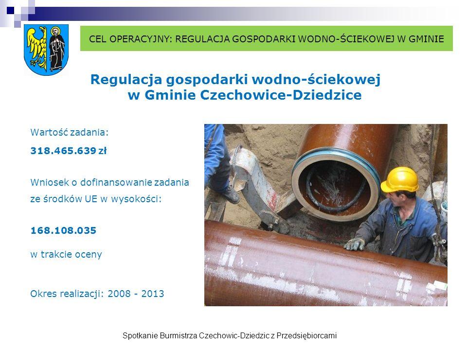 Spotkanie Burmistrza Czechowic-Dziedzic z Przedsiębiorcami Regulacja gospodarki wodno-ściekowej w Gminie Czechowice-Dziedzice Wartość zadania: 318.465.639 zł Wniosek o dofinansowanie zadania ze środków UE w wysokości: 168.108.035 w trakcie oceny Okres realizacji: 2008 - 2013 CEL OPERACYJNY: REGULACJA GOSPODARKI WODNO-ŚCIEKOWEJ W GMINIE