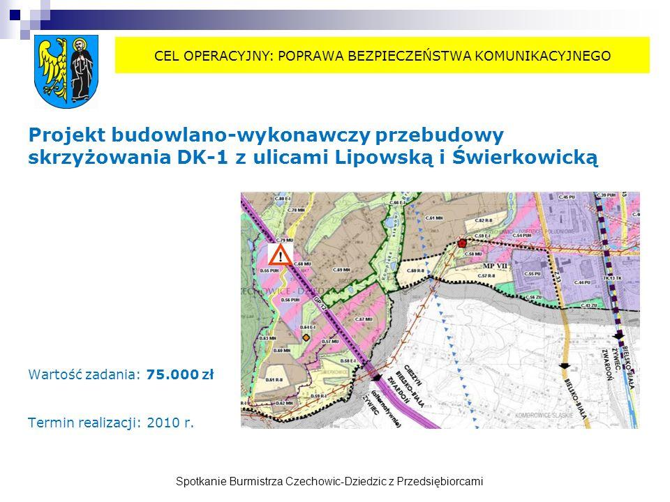 Spotkanie Burmistrza Czechowic-Dziedzic z Przedsiębiorcami Projekt budowlano-wykonawczy przebudowy skrzyżowania DK-1 z ulicami Lipowską i Świerkowicką Wartość zadania: 75.000 zł Termin realizacji: 2010 r.