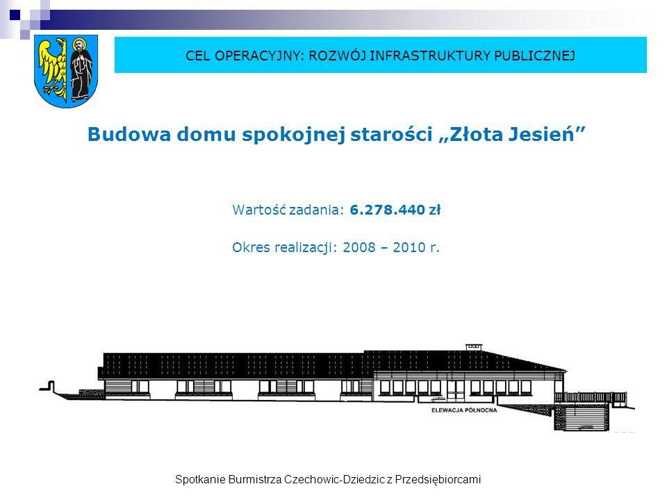 Spotkanie Burmistrza Czechowic-Dziedzic z Przedsiębiorcami Budowa sali gimnastycznej w SP Nr 3 w Ligocie CEL OPERACYJNY: ROZWÓJ INFRASTRUKTURY PUBLICZNEJ Wartość zadania: 2.456.200 zł Okres realizacji: 2009 – 2010 r.