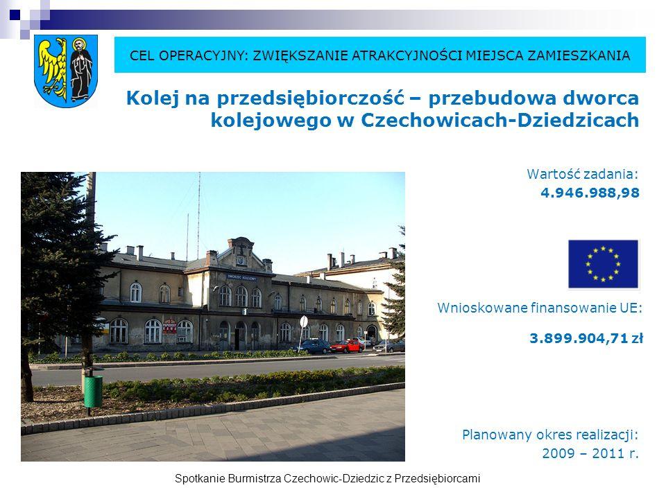 Spotkanie Burmistrza Czechowic-Dziedzic z Przedsiębiorcami Kolej na przedsiębiorczość – przebudowa dworca kolejowego w Czechowicach-Dziedzicach Wartość zadania: 4.946.988,98 Planowany okres realizacji: 2009 – 2011 r.