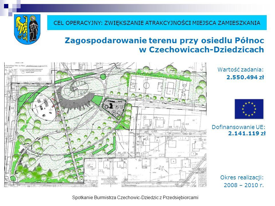 Spotkanie Burmistrza Czechowic-Dziedzic z Przedsiębiorcami Kompleks rekreacyjno-sportowy w Bronowie Etap I: część rekreacyjna Wartość zadania: 501.542 zł Przygotowywany wniosek o dofinansowanie zadania ze środków UE w wysokości: 310.000 zł Okres realizacji: 2009 – 2010 r.