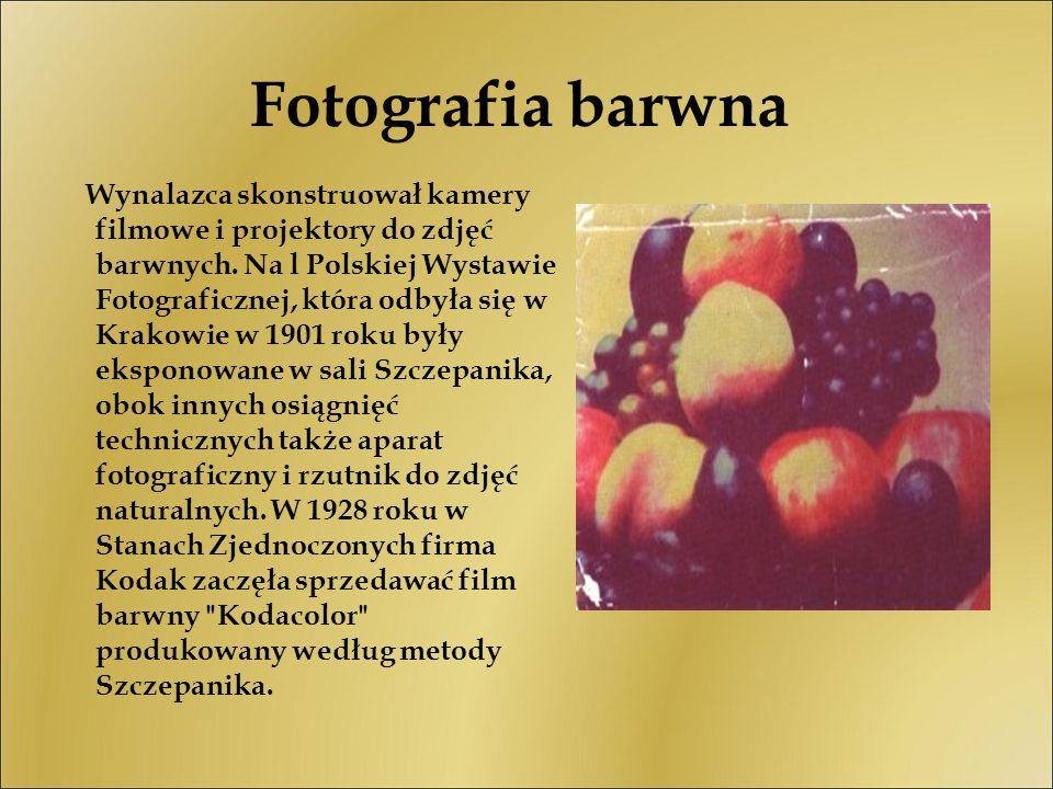 Fotografia barwna Wynalazca skonstruował kamery filmowe i projektory do zdjęć barwnych. Na l Polskiej Wystawie Fotograficznej, która odbyła się w Krak