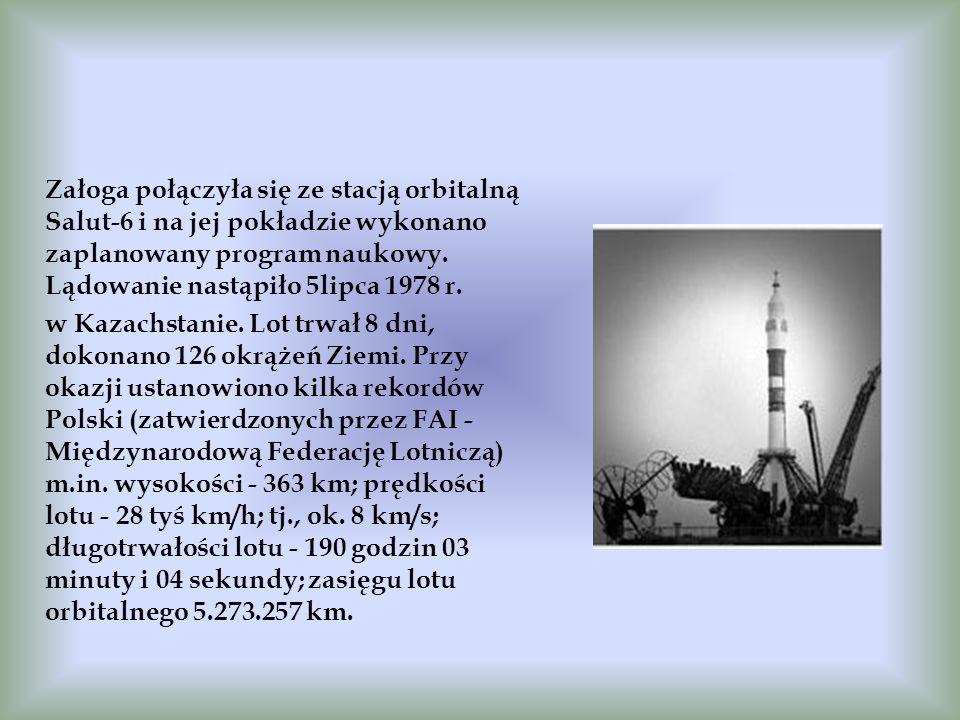 Załoga połączyła się ze stacją orbitalną Salut-6 i na jej pokładzie wykonano zaplanowany program naukowy. Lądowanie nastąpiło 5lipca 1978 r. w Kazachs