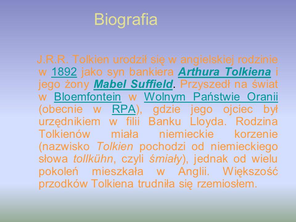 Literatura Hobbit, czyli tam i z powrotem 1937, 1957Hobbit, czyli tam i z powrotem Liść, dzieło Niggle a 1945Liść, dzieło Niggle a Rudy Dżil i jego pies 1949Rudy Dżil i jego pies Władca Pierścieni 1969/1970, składający się z trzech części:Władca Pierścieni Drużyna Pierścienia 1954,Drużyna Pierścienia Dwie Wieże 1954,Dwie Wieże Powrót Króla 1955,Powrót Króla Kowal z Podlesia Większego 1967Kowal z Podlesia Większego Guide to the Names in The Lord of the Rings opublikowane w A Tolkien Compass w 1975 Listy Świętego Mikołaja (The Letters of Father Christmas) 1976, 1977.