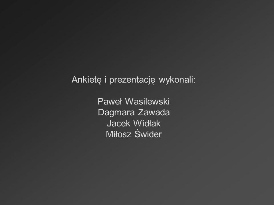 Ankietę i prezentację wykonali: Paweł Wasilewski Dagmara Zawada Jacek Widłak Miłosz Świder