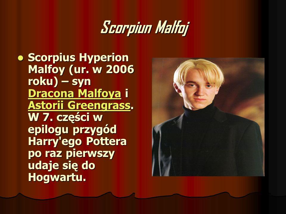 Scorpiun Malfoj Scorpius Hyperion Malfoy (ur. w 2006 roku) – syn Dracona Malfoya i Astorii Greengrass. W 7. części w epilogu przygód Harry'ego Pottera