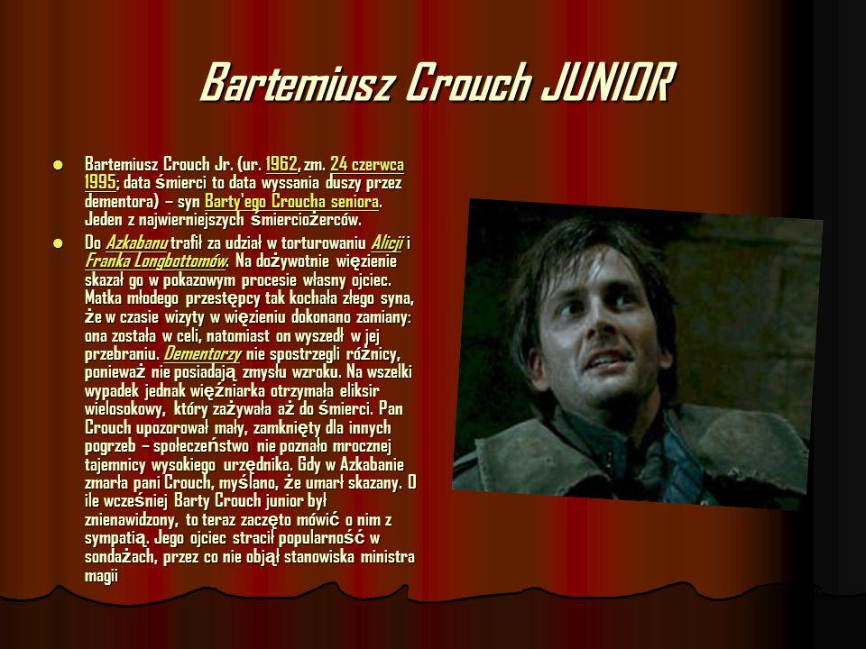 Bartemiusz Crouch JUNIOR Bartemiusz Crouch Jr. (ur. 1962, zm. 24 czerwca 1995; data ś mierci to data wyssania duszy przez dementora) – syn Barty'ego C